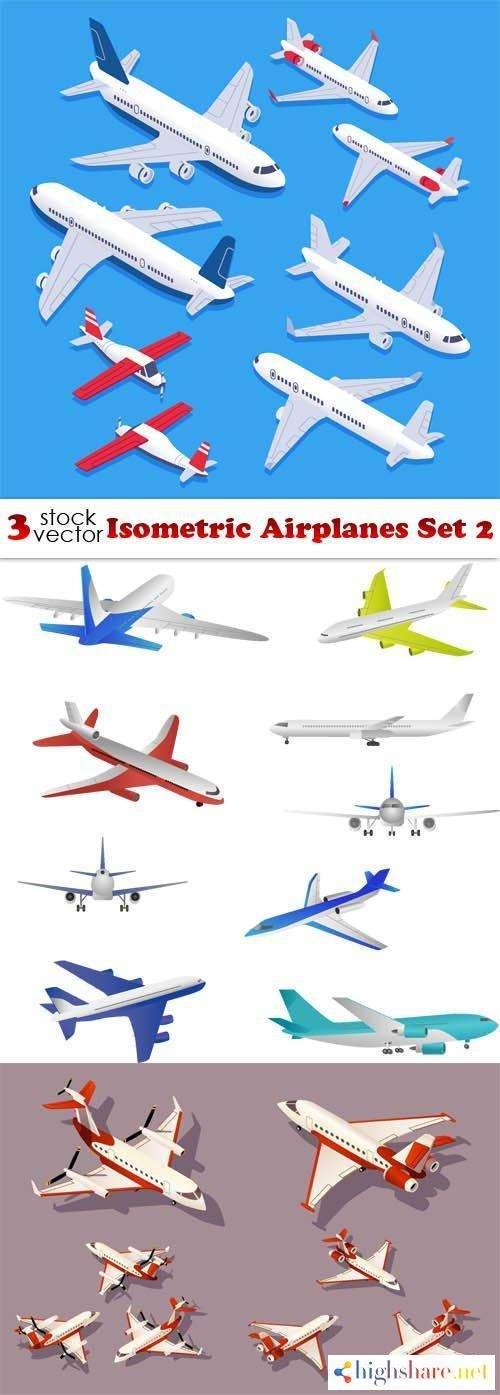 vectors isometric airplanes set 2 5f43c33ec51fd - Vectors - Isometric Airplanes Set 2