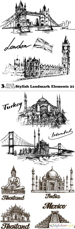 vectors stylish landmark elements 21 5f3fe7243a0ca - Vectors - Stylish Landmark Elements 21