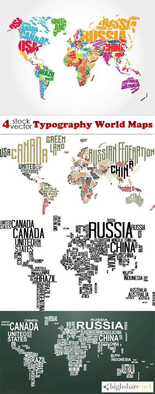vectors typography world maps 5f41e0ce586a3 - Vectors - Typography World Maps