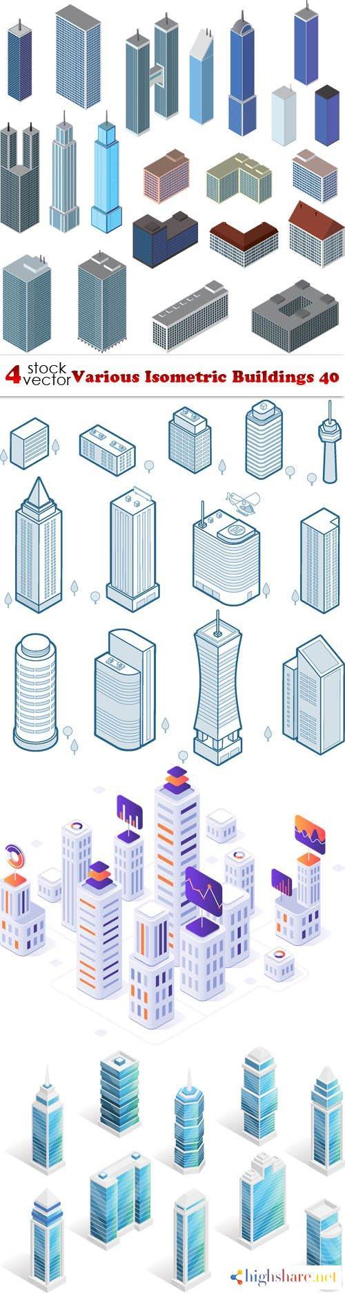 vectors various isometric buildings 40 5f3fe7d6a6bec - Vectors - Various Isometric Buildings 40