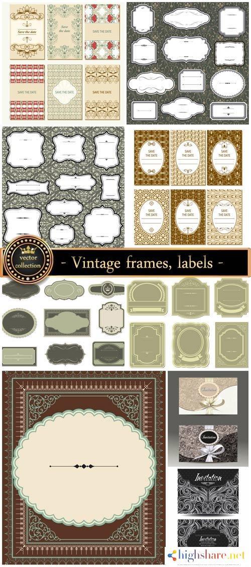 vintage frames labels and invitations vector 5f3fbaa4bc165 - Vintage frames, labels, and invitations vector