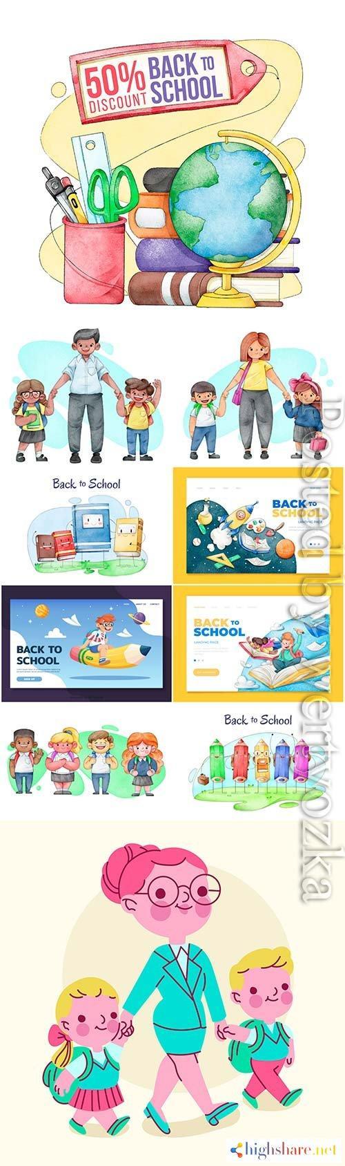 watercolor back to school vector template design 5f3fffd5f417d - Watercolor back to school vector template design