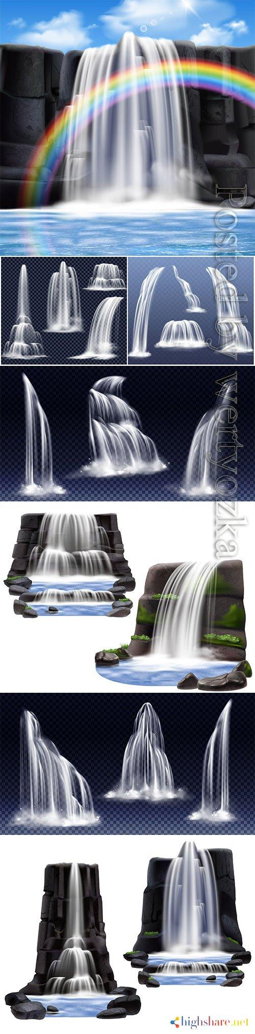 waterfalls realistic compositions vector design 5f409d4f8fe52 - Waterfalls realistic compositions vector design