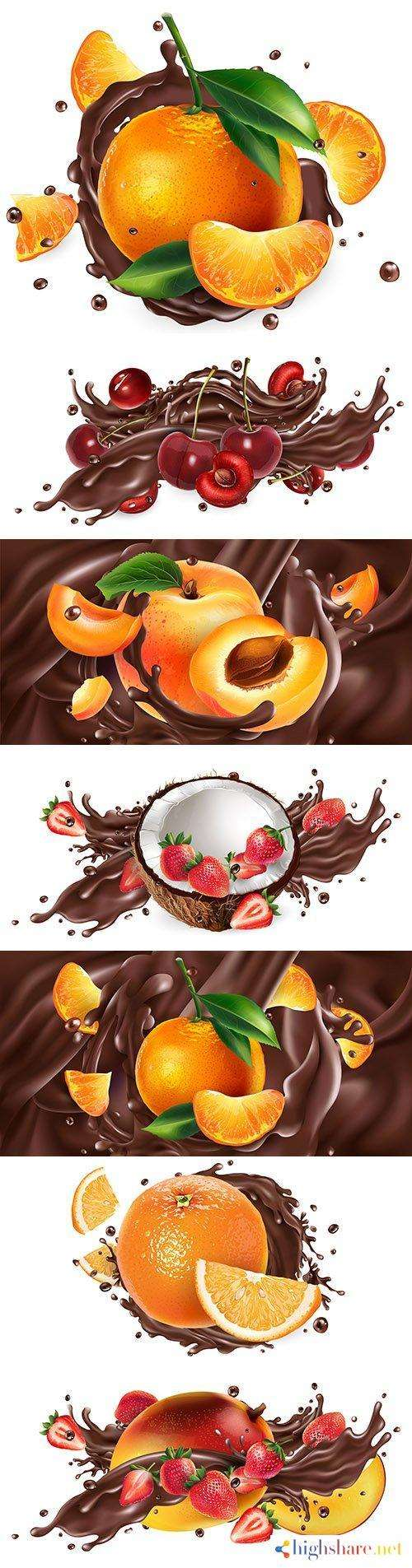 whole and chopped fruit in chocolate splash realistic illustrations 2 5f42005bc797c - Whole and chopped fruit in chocolate splash realistic illustrations 2