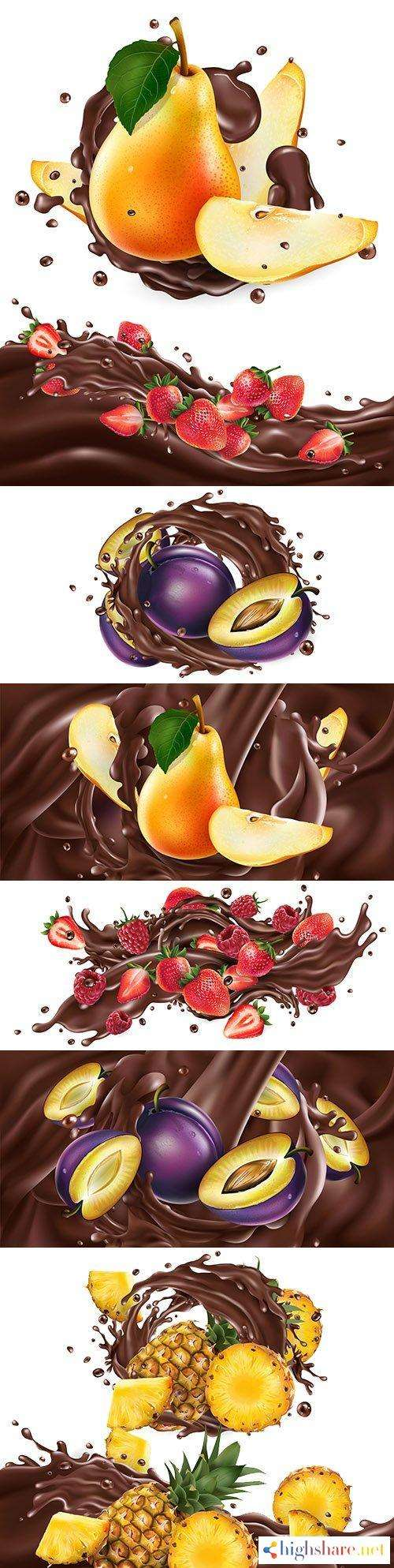 whole and chopped fruit in chocolate splash realistic illustrations 5f4200806061a - Whole and chopped fruit in chocolate splash realistic illustrations