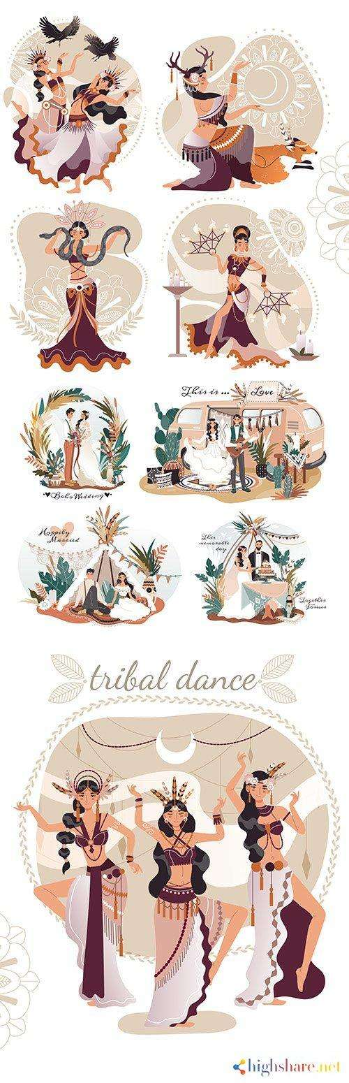 boho style wedding and beautiful female ritual dancing illustration 5f4e2a06044ed - Boho-style wedding and beautiful female ritual dancing illustration