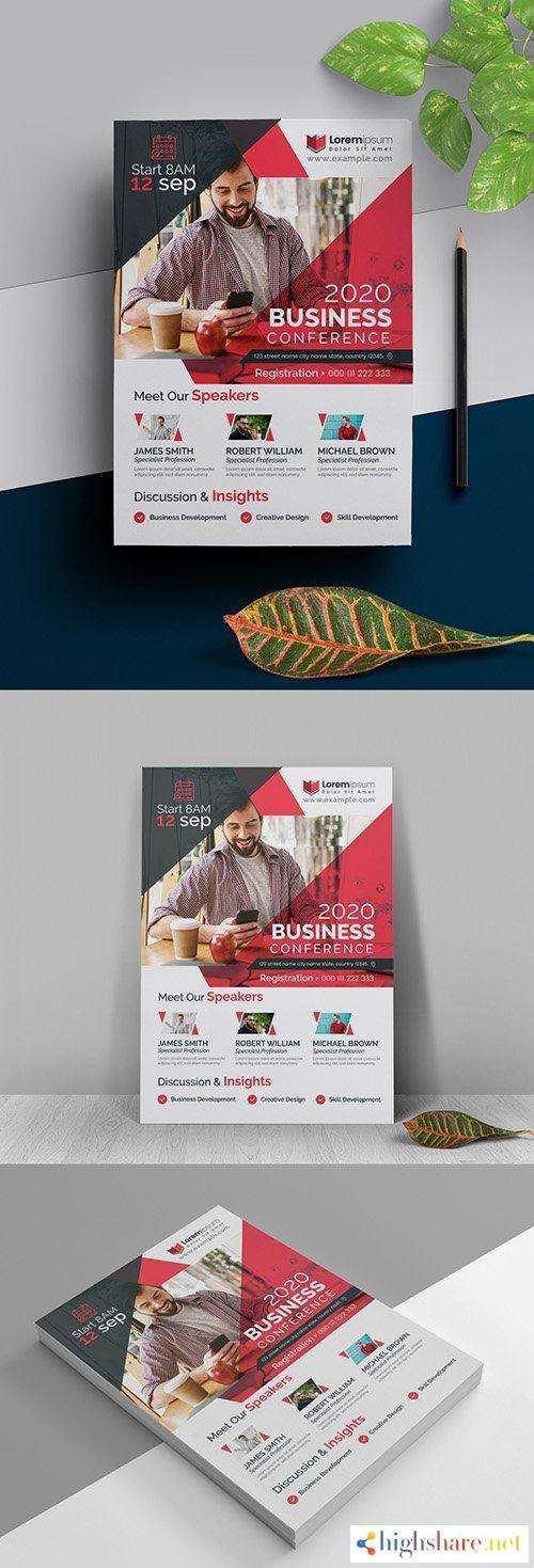 conference event flyer layout with red accents 5f5d920abedef - Conference Event Flyer Layout with Red Accents