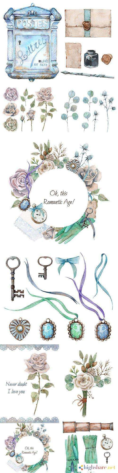 flowers decorations and ancient keys watercolor design 5f4e2e3eca936 - Flowers, decorations and ancient keys watercolor design
