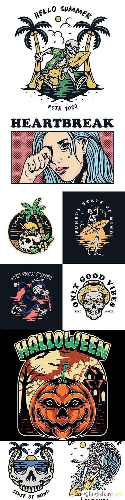 skull premium illustration vintage design emblems 5f4e2dc196476 - Skull premium illustration vintage design emblems