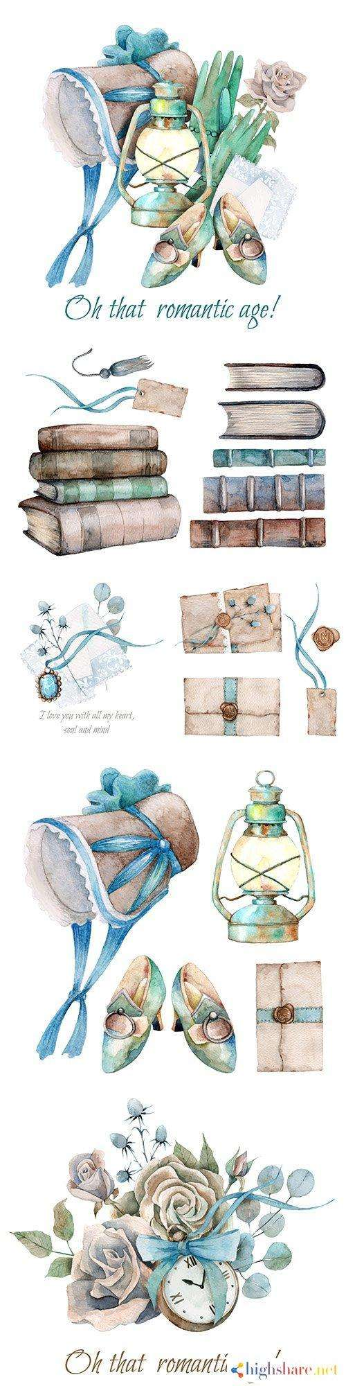 watercolor composition romantic elements and decorative colors 5f4e2e675ad57 - Watercolor composition romantic elements and decorative colors