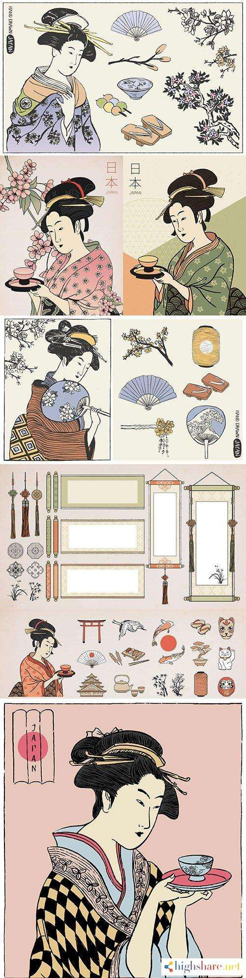 woman in kimono holds cup and set of japanese design elements 5f4e28749519c - Woman in kimono holds cup and set of Japanese design elements