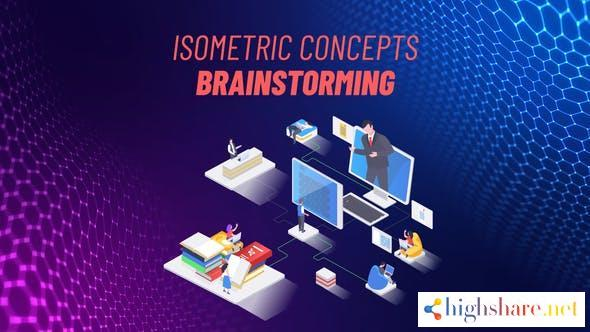 brainstorming isometric concept 31693628 videohive 609f5bed4ac57 - Brainstorming Isometric Concept 31693628 Videohive