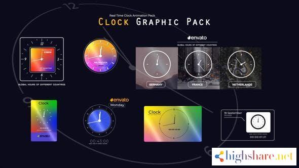 real time clock animation pack 33784578 videohive 614578eb5da68 - Real Time Clock Animation Pack 33784578 Videohive
